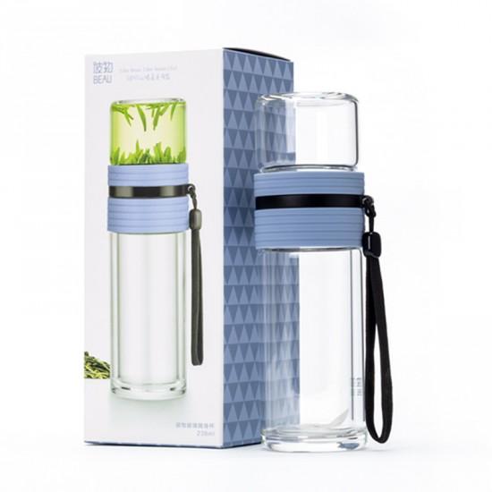 Double Wall Glass Tea Infuser Bottle w. Infuser/Storage 238ml